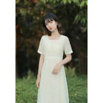 Dress Summer 2020 Off white XS,S,M,L Mid length dress singleton  Short sleeve commute square neck High waist Solid color zipper A-line skirt routine Others 18-24 years old Type X Retro Zipper, resin fixation More than 95% other other