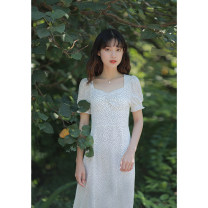Dress Summer 2021 white XS,S,M,L Mid length dress singleton  Short sleeve commute V-neck High waist Dot zipper A-line skirt other Others 18-24 years old Type X Retro Zipper, resin fixation More than 95% other other