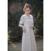 Dress Summer 2021 Apricot XS,S,M,L Mid length dress singleton  Short sleeve commute Polo collar High waist Solid color Single breasted A-line skirt other Others 18-24 years old Type X Retro Button, resin fixation More than 95% other other