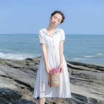 Dress Summer 2021 white XS,S,M,L Mid length dress singleton  Short sleeve commute Polo collar High waist Solid color zipper A-line skirt routine Others 18-24 years old Type X Retro Embroidery, stitching, bandage, zipper, resin fixation More than 95% other other