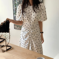 Dress Summer 2021 White, black Average size Mid length dress singleton  Short sleeve commute Crew neck Loose waist Dot Socket Irregular skirt puff sleeve Others 18-24 years old Type A Korean version Pleating, printing 51% (inclusive) - 70% (inclusive) other polyester fiber