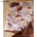cheongsam Summer 2020 XXL,XXXL,S,M,L,XL,4XL Short sleeve Short cheongsam literature Low slit daily Oblique lapel Hand painted Piping cotton