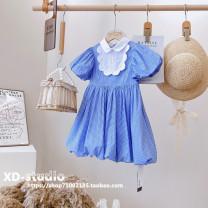 Dress Lanbaige (baoerwang brand in stock) female Baoerwang Other 100% summer Korean version Short sleeve lattice other Pleats other Four, five, six, seven, eight, nine, ten, eleven, twelve, thirteen, fourteen