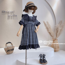 Dress Black grid (forest wheat brand in stock) female Other / other Other 100% spring and autumn Korean version Short sleeve lattice other Pleats ZQ05723 other Four, five, six, seven, eight, nine, ten, eleven, twelve, thirteen, fourteen