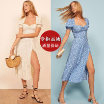 Dress Summer 2020 Sky blue peach blossom, round wave point white XS,S,M,L,XL Mid length dress singleton  Short sleeve commute square neck High waist Decor zipper A-line skirt Princess sleeve Others 18-24 years old Type X Retro More than 95% polyester fiber