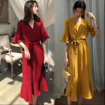 Dress Summer 2020 Red, gold M,L,XL,XXL Mid length dress singleton  Short sleeve V-neck middle-waisted Solid color Socket Ruffle Skirt Other / other