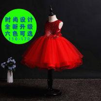 Children's dress Red, dark blue, sky blue, champagne, pink, red female 110cm,120cm,130cm,140cm,150cm,160cm,170cm Miss shrimp full dress polyester fiber Six, eight, nine, ten, eleven, twelve, thirteen, fourteen princess