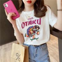 T-shirt White, orange, rose, green S,M,L,XL Summer 2021 Short sleeve Crew neck easy Regular routine commute cotton 96% and above Korean version Cartoon animation printing