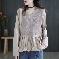 Wool knitwear Spring 2021 Average size Black, blue, coffee, khaki Long sleeves Fake two pieces Socket cotton 51% (inclusive) - 70% (inclusive) Regular routine commute easy V-neck routine Solid color Socket literature S4501 30-34 years old Carmine feather Splicing