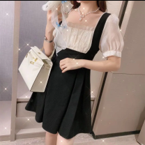Dress Summer 2021 Black short, black long S,M,L,XL Mid length dress singleton  Short sleeve commute square neck High waist Solid color zipper A-line skirt routine Others 18-24 years old Type A Retro 31% (inclusive) - 50% (inclusive)