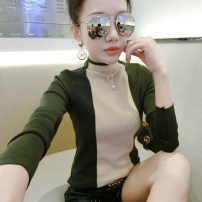 Wool knitwear Autumn of 2018 S,M,L,XL Black, dark green, brown, 853 black Long sleeves singleton  Socket other 81% (inclusive) - 90% (inclusive) Regular routine commute Self cultivation Half height crew neck routine Color matching Socket Korean version AI-8918# 25-29 years old Stitching, nail bead