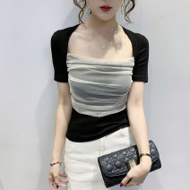 T-shirt Gray, black, white, pink, pure white T S,M,L,XL,2XL Summer 2020 Short sleeve square neck Self cultivation routine commute other 96% and above Korean version originality Color matching 3D, asymmetric, stitching, open line decoration, gauze, lace, fold, hollow