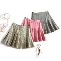 skirt Spring 2021 S,M,L,XL,XXL Blackcurrant purple, blue checkered, quartz grey Short skirt High waist Type A 71% (inclusive) - 80% (inclusive) Other / other