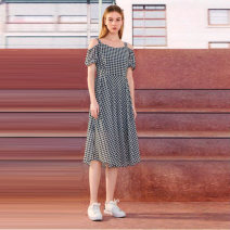 Dress Summer 2021 Black and white S,M,L,XL Mid length dress singleton  Short sleeve Socket Type A Other / other O23L322 More than 95% polyester fiber