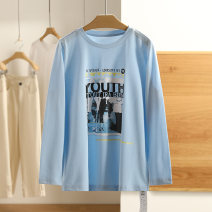 T-shirt Black, blue sky S,M,L,XL,XXL Spring 2021 Long sleeves Regular cotton 96% and above Other / other B2012603
