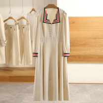 Dress Spring 2021 Beige, Carnival red S,M,L,XL,XXL Mid length dress singleton  Long sleeves Type A Other / other More than 95% polyester fiber