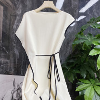 Dress Spring 2021 Off white, black S (pay attention to the shop to send 10 yuan cash coupon), m (pay attention to the shop to send 10 yuan cash coupon), l (pay attention to the shop to send 10 yuan cash coupon), XL (pay attention to the shop to send 10 yuan cash coupon)