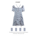 Dress Summer 2021 Soft blue S, M Mid length dress singleton  Short sleeve commute square neck High waist Solid color Socket other routine Others Type H Retro Pleating, lacing, stitching, strapping 31% (inclusive) - 50% (inclusive) Chiffon other