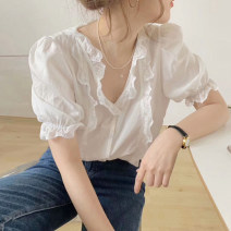 shirt white S,M,L,XL Summer 2021 other 30% and below Short sleeve Sweet Regular V-neck Socket routine Solid color 18-24 years old Straight cylinder Button, mesh, lace, cut out, ruffle