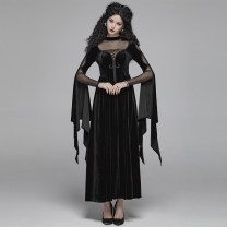 Dress Autumn of 2019 black Xs-s code is applicable, M-L code is applicable, xl-2xl code is applicable longuette singleton  Long sleeves commute stand collar High waist Socket A-line skirt other Others Type A PUNK RAVE Retro 81% (inclusive) - 90% (inclusive) nylon
