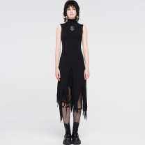 Dress Winter 2020 black Xs-s code is applicable, M-L code is applicable, xl-2xl code is applicable longuette singleton  Sleeveless street stand collar High waist Solid color Socket Irregular skirt routine Others Type A PUNK RAVE WQ471 31% (inclusive) - 50% (inclusive) other cotton Punk