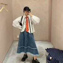 skirt Summer 2020 XS,S,M,L Denim blue Mid length dress street Natural waist other other Type A More than 95% other MONA ready-to-wear cotton Europe and America