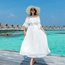 Dress Winter of 2019 white S,M,L longuette singleton  Short sleeve Sweet One word collar High waist Solid color Socket Big swing routine 25-29 years old Type A Other / other 51% (inclusive) - 70% (inclusive) Chiffon polyester fiber Bohemia