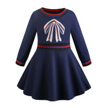 Dress blue female Other / other Cotton 100% spring and autumn Europe and America Long sleeves Solid color other Pleats Class B 2, 3, 4, 5, 6, 7, 8, 9, 10 years old