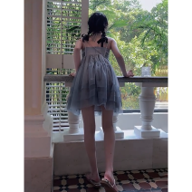 Dress Spring 2021 Blue sling, blue short sleeve, cheese sling, cheese short sleeve, wholesale 500 pieces S,M,L Short skirt singleton  Short sleeve Sweet One word collar High waist Solid color zipper A-line skirt 18-24 years old Type A Backless, pleated, stitched, mesh polyester fiber princess