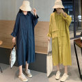 Women's large Spring 2021 Yellow, dark blue Large XL, large XXL, large XXL, large XXXXL, large XXXXL Dress singleton  commute easy moderate Cardigan Long sleeves Solid color Korean version Polo collar Medium length polyester Three dimensional cutting longuette