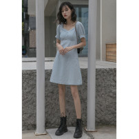 Dress Summer 2021 blue XS,S,M,L Mid length dress singleton  Short sleeve commute other High waist Solid color Socket A-line skirt other Others Type A Korean version fold 81% (inclusive) - 90% (inclusive) Denim other