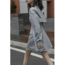 Dress Spring 2021 Light grey S,M,L Short skirt Two piece set Long sleeves commute Crew neck High waist Solid color Socket other routine Others Type A Korean version 81% (inclusive) - 90% (inclusive) other other