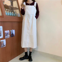 Dress Autumn 2020 white Average size Mid length dress singleton  Sleeveless Loose waist straps 18-24 years old Type H 81% (inclusive) - 90% (inclusive) other other