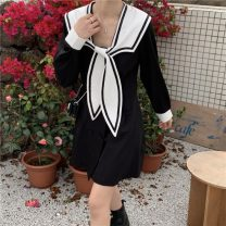 Dress Summer 2021 White, black Average size Short skirt singleton  Long sleeves commute Admiral High waist A-line skirt routine 18-24 years old Type A Korean version 31% (inclusive) - 50% (inclusive) cotton
