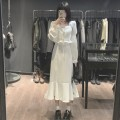 Dress Spring 2021 White, black S,M,L longuette singleton  Long sleeves commute square neck High waist Solid color Socket Ruffle Skirt routine 18-24 years old Type A Lotus leaf edge Chiffon polyester fiber