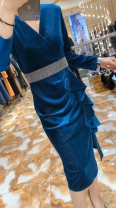 Dress Autumn 2020 Blue, purple, red, black S,M,L,XL,2XL Mid length dress singleton  Long sleeves commute V-neck High waist Ruffle Skirt routine 30-34 years old Type A Korean version 31% (inclusive) - 50% (inclusive)