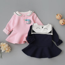 Dress female Le Nubi Polyester fiber 67.1% cotton 31.2% polyurethane elastic fiber (spandex) 1.7% spring and autumn college Long sleeves Solid color Cotton blended fabric Lotus leaf edge Class A Winter 2017 3 months 12 months 6 months 9 months 18 months 2 years 3 years 4 years old Chinese Mainland