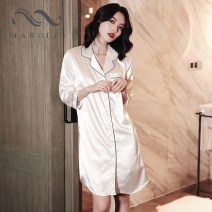 Nightdress Other / other M,L,XL,2XL sexy three quarter sleeve pajamas Middle-skirt summer Solid color youth Small lapel Iced silk Button decoration More than 95% silk