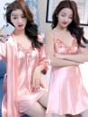 Pajamas / housewear set female Other / other M,L,XL,XXL Iced silk Long sleeves sexy Leisure home summer Thin money Solid color Tether youth 2 pieces More than 95% silk lace XC210307 200g and below Short skirt
