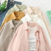 shirt Khaki, white, coffee, smoke pink, beige S,M,L,XL Spring 2021 other 96% and above Long sleeves commute Regular Polo collar Single row multi button routine Solid color 18-24 years old Straight cylinder Other / other Korean version BG210107-CS8145 pocket