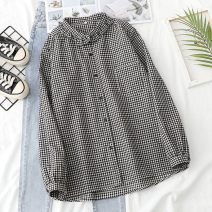 shirt Black lattice S,M,L Spring 2021 other 96% and above Long sleeves commute Regular Doll Collar Single row multi button routine lattice 18-24 years old Straight cylinder Other / other Korean version D210216-CN281 pocket