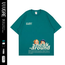 T-shirt Youth fashion Black, white, lake green routine XL,L,M VIVGAE Short sleeve Crew neck easy Other leisure summer EB12 teenagers routine American leisure other 2020 other printing Cotton ammonia