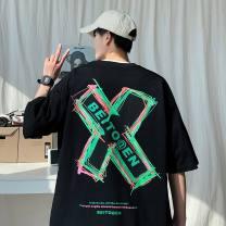 T-shirt Youth fashion Black, white thin XL,L,M,XXL,XXXL,XXXXL,XXXXXL VIVGAE Short sleeve Crew neck easy Other leisure summer RVC-6200 youth routine like a breath of fresh air other 2021 other printing Cotton polyester Geometric pattern