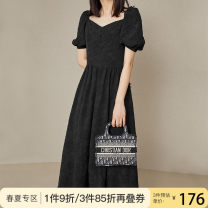 Dress Summer 2020 black XS S M L XL Mid length dress singleton  Short sleeve commute square neck High waist Solid color zipper A-line skirt puff sleeve Others 25-29 years old Van schlan Retro Button Z201450 More than 95% polyester fiber Polyester 96% polyurethane elastic fiber (spandex) 4%