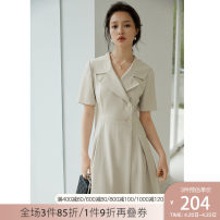Dress Summer 2021 Apricot tea green coral red black XS S M L XL Mid length dress singleton  Short sleeve commute tailored collar High waist Solid color zipper A-line skirt other Others 25-29 years old Type A Van schlan Korean version Z211199 30% and below Lycra Lycra Pure e-commerce (online only)