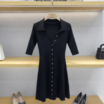 Dress Summer 2021 black 1 / s, 2 / m, 3 / L Short skirt singleton  elbow sleeve commute V-neck High waist Solid color Socket A-line skirt routine 25-29 years old Type A Button GD9887 51% (inclusive) - 70% (inclusive) other other