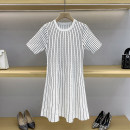 Dress Summer 2021 White, black 1 / s, 2 / m, 3 / L Short skirt singleton  Short sleeve commute Crew neck High waist stripe Socket A-line skirt routine Others 25-29 years old Type A GD9923 71% (inclusive) - 80% (inclusive) knitting other