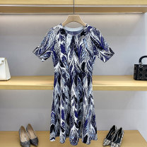 Dress Summer 2021 blue 1 / s, 2 / m, 3 / L Short skirt singleton  Short sleeve commute Crew neck High waist Solid color Socket Big swing routine Others 25-29 years old Type A GD9837 51% (inclusive) - 70% (inclusive) knitting acrylic fibres