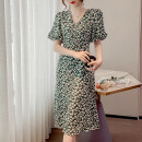 Dress Summer 2021 Pink, green with white flowers S,M,L,XL Middle-skirt singleton  Short sleeve commute V-neck Elastic waist Decor Socket A-line skirt pagoda sleeve Others 25-29 years old Type A Retro Chain, printing 31% (inclusive) - 50% (inclusive) Chiffon polyester fiber