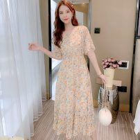 Dress Summer 2021 Blue, yellow, pink S,M,L,XL,2XL Mid length dress singleton  Short sleeve Sweet V-neck Elastic waist Broken flowers Socket Big swing pagoda sleeve Others 25-29 years old Type A Chiffon Mori